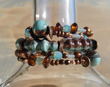 Load image into Gallery viewer, Raku Copper and Turquoise Beaded Cuff Bracelet