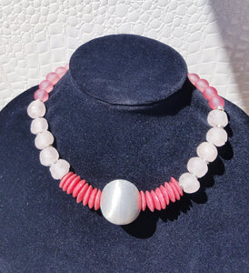 Pink Rose African Glass Necklace