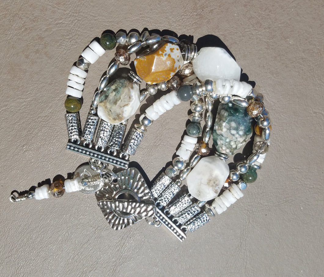Ocean Jasper Tidal Pool Beaded Bracelet