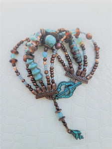 Raku Copper and Turquoise Beaded Cuff Bracelet