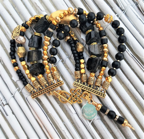 Lustrous Gold and Black Sparkle Bracelet