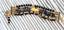 Load image into Gallery viewer, Lustrous Gold and Black Sparkle Bracelet