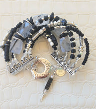 Load image into Gallery viewer, Clear Quartz Rutilated with Black Tourmaline Crystals Bracelet