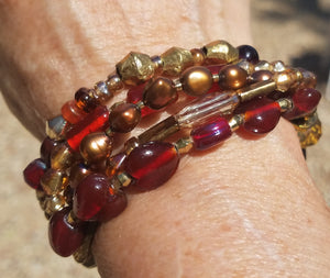 Red Glass and Pearls...Bracelet