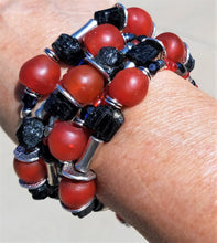 Load image into Gallery viewer, Black Silver and Red Allover Bracelet
