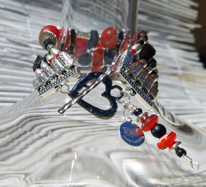 Black Silver and Red Allover Bracelet