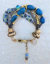 Load image into Gallery viewer, Teal and Gold Tagua Bracelet