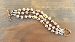 Dusty Rose Pearl and Emerald Swarovski Crystal Bracelet
