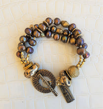 Load image into Gallery viewer, Bronze Pearl and African Brass Bracelet