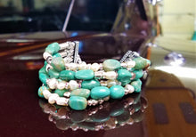 Load image into Gallery viewer, Turquoise and Pearls Bracelet