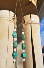 Load image into Gallery viewer, Turquoise and Pearls Earrings