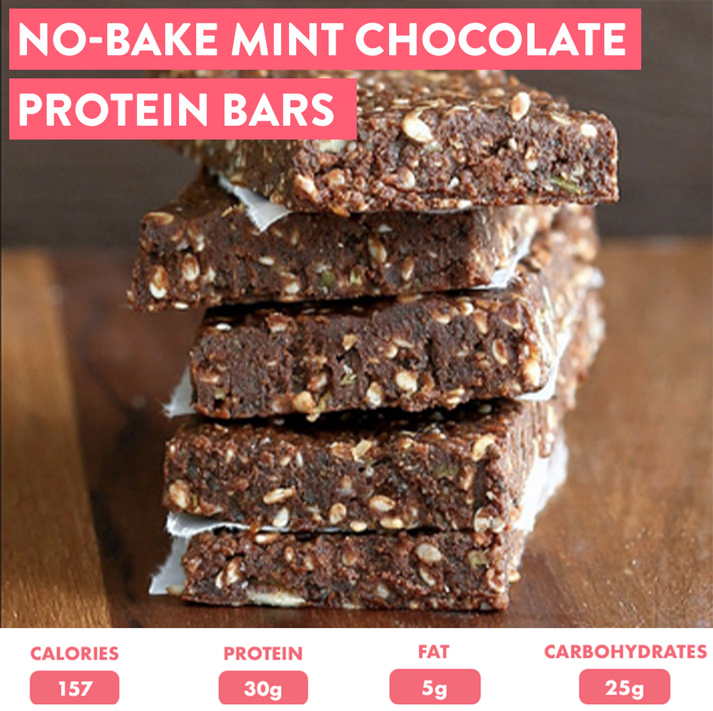 No-Bake Mint Chocolate Protein Bars
