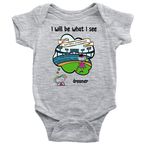 Girl Dreamer Softball Champion Onesie (3071)