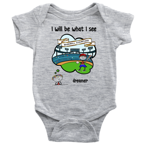 Boy Dreamer Baseball Champion Onesie (3070)