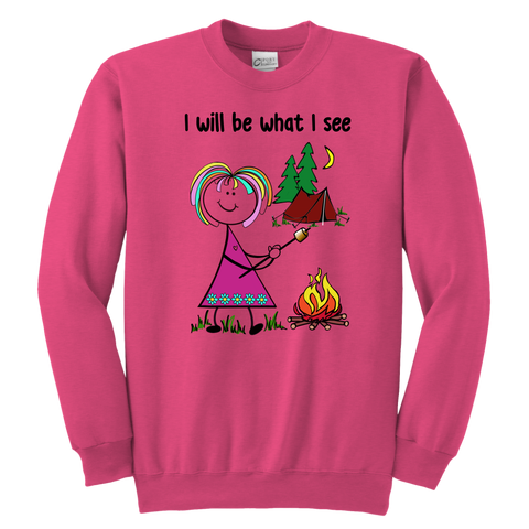 Girl Camping Youth Sweat (3043)