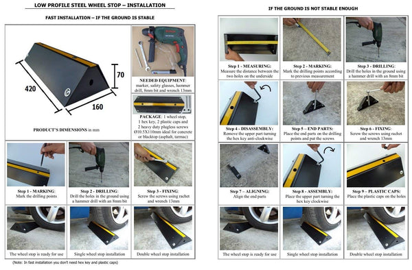 SNS SAFETY LTD Low Profile Steel Wheel Stop for Car Parks and Garages 42x16x7 cm Pack of 2