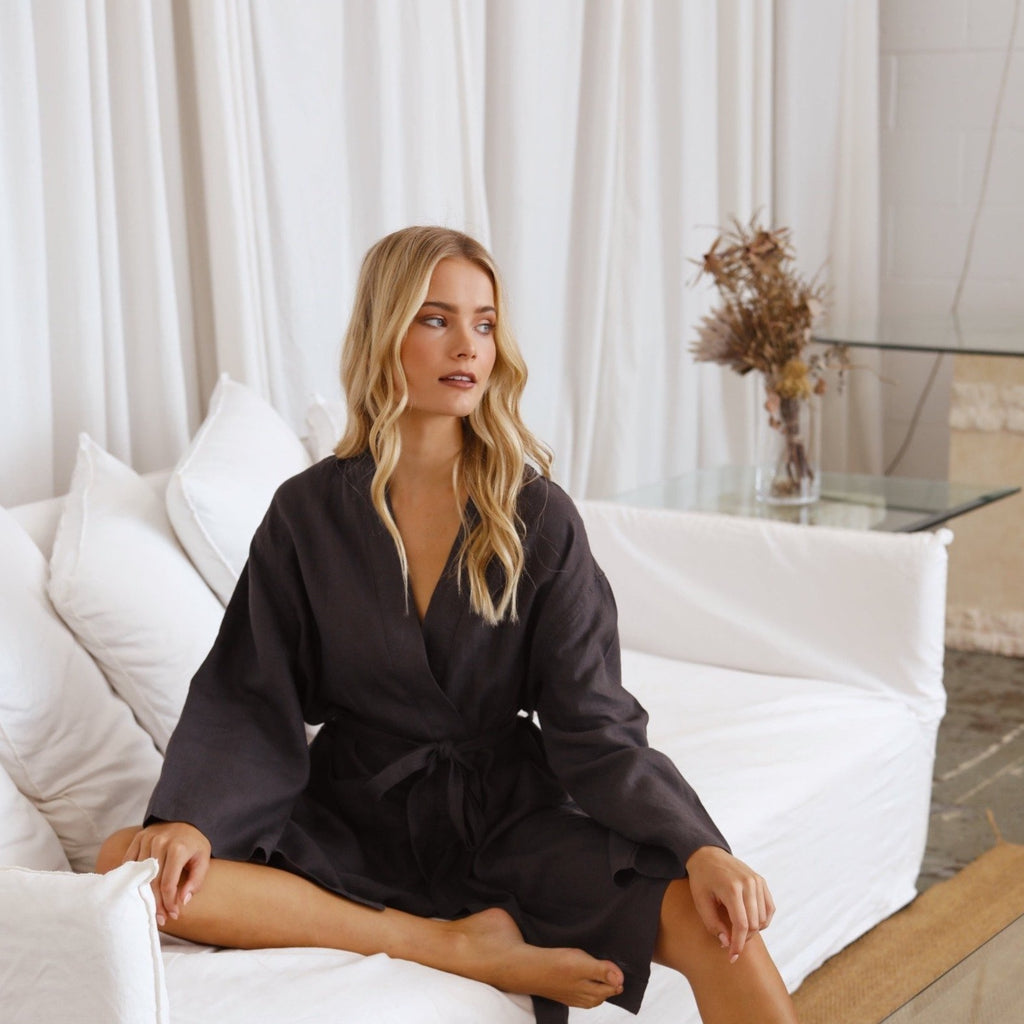 100% French Linen Robe - Charcoal