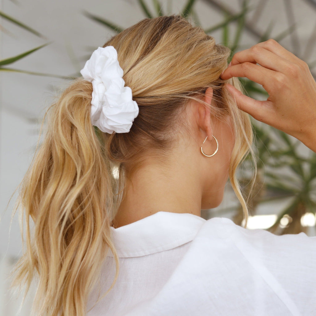 White Linen Scrunchie | 100% French Linen