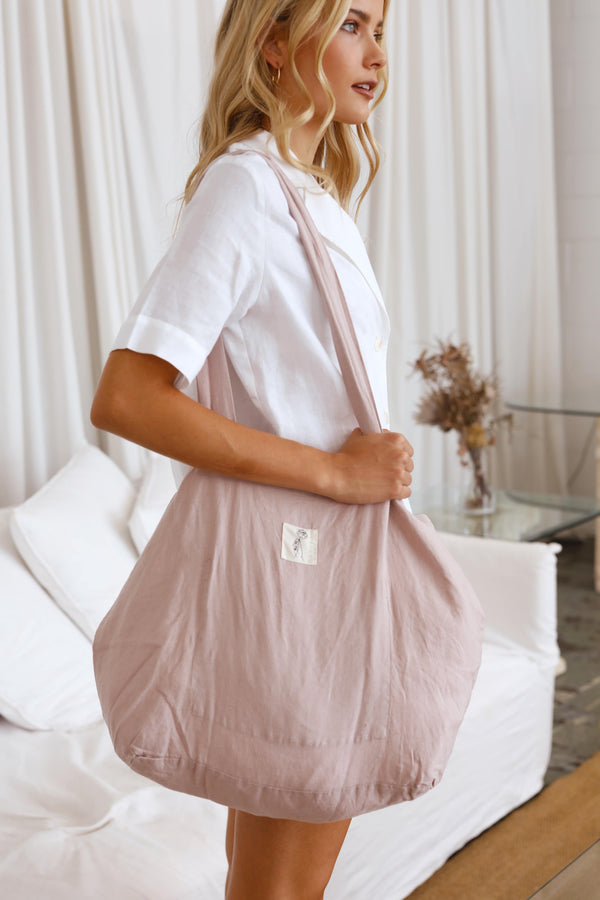 Rosewater Pink Linen Market Tote | 100% French Linen