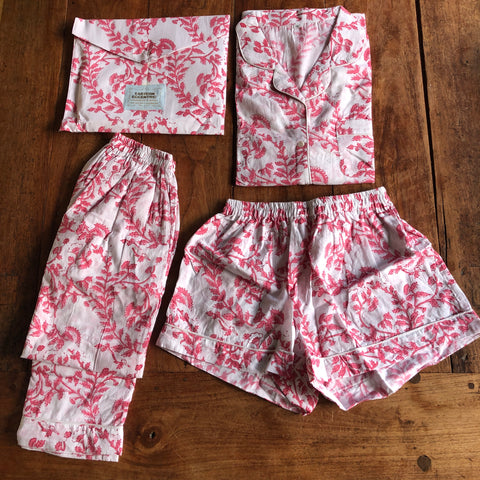 WOMEN'S PJs 2021 DayNightwear Collection - 7 Pink Lotus flowers and laurels on White Set