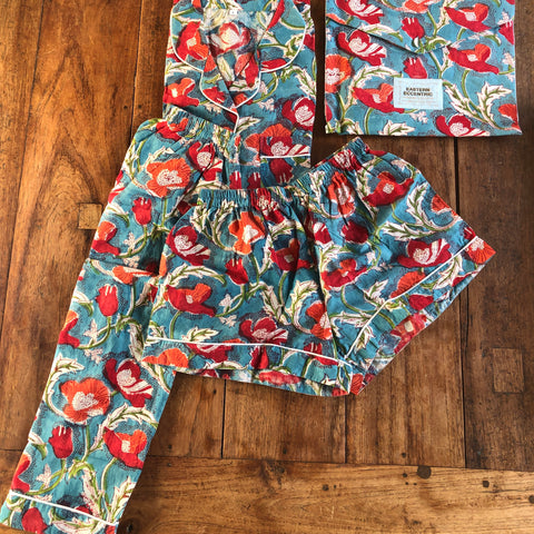 WOMEN'S PJs 2021 DayNightwear Collection - 1 Red and Orange Tulips on blue Set