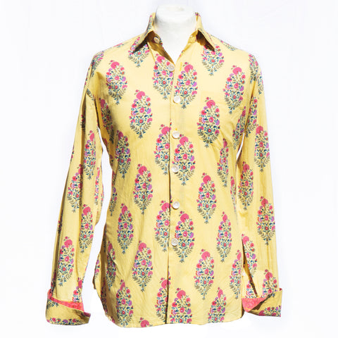 Shirting for Men -6 Cuban floral magenta and green flowers on Yellow 2020