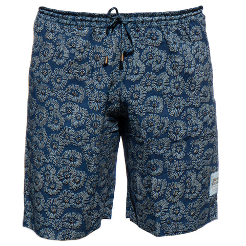 Men's Sporting Swimming Shorts - 3 Barmeri Flowers on Blue Co-ord New Swimmer Collection 2020