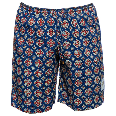 Men's Sporting Swimming Shorts - 10 Barmeri Red geometric shapes on Blue New Swimmer Collection 2020