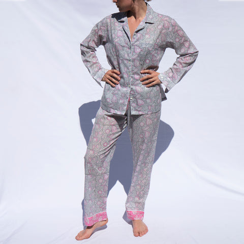 WOMEN'S PJs 2020 Collection - 5 Pink Paisley on Grey