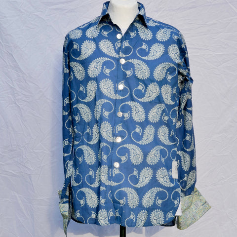 Shirting for Men -11 Cobalt Blue with Large Paisley 2019