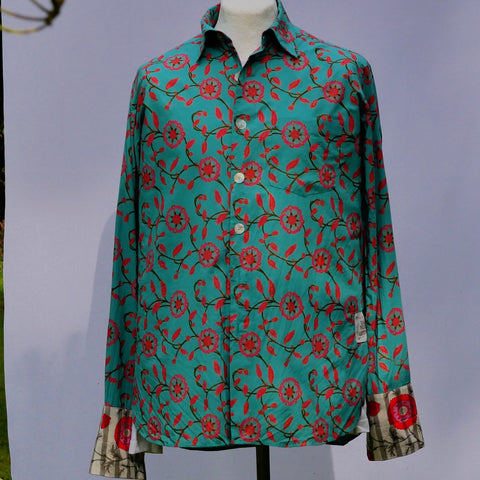 Shirting for Men - 3 Turquoise with Pink Zinnia 2019