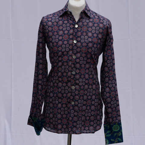 Shirting for Men - 4 Prussian and Ruby Barmeri Ajrakh 2019