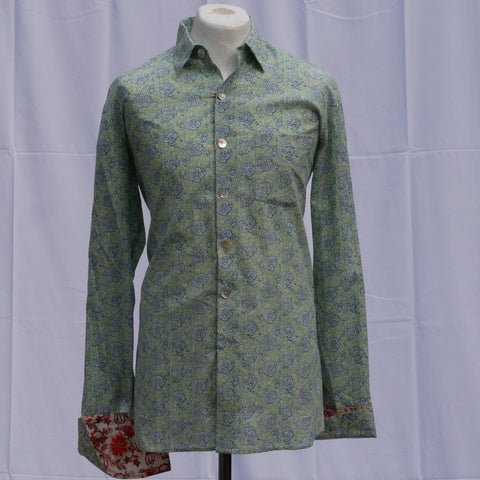 Shirting for men 12 - Blue Hibiscus on green 2019