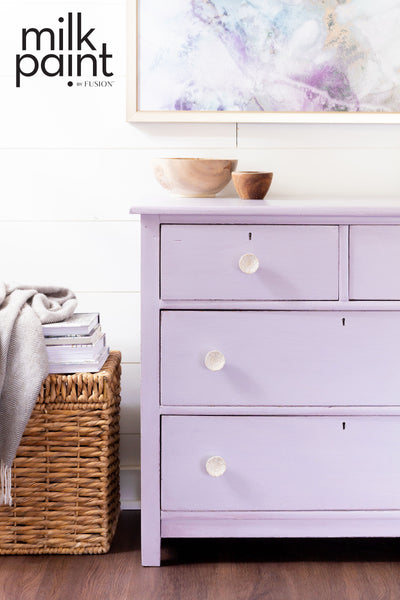 Milk Paint by Fusion Wisteria Row pale purple Painted chest Farmhouse Inspired