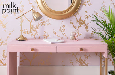 Milk Paint by Fusion Matte Blush Pale Pink Writing Desk Farmhouse Inspired