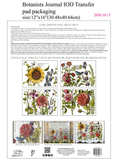 Botanist's Journal Decor Transfer *New Pad Format*