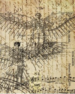 DreamsofFlight1 Vintage Sepia Script music winged man RoycycledTreasures FarmhouseInspired
