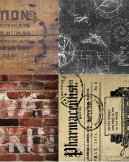 Industrial Project Blocks Vintage Crate Black Blueprint Brick wall Vintage paper RoycycledTreasures FarmhouseInspired.