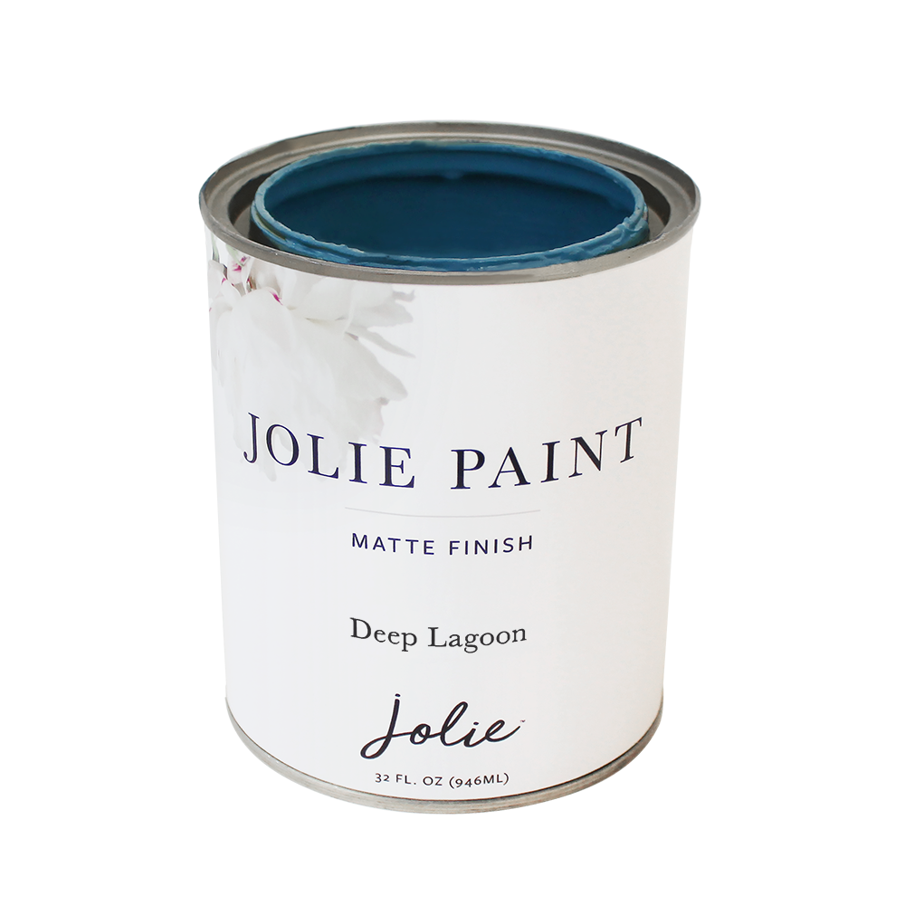 Jolie Paint in DEEP LAGOON Chalk Paint Chic Sophisticated Accent Walls Cabinetry Farmhouse Inspired