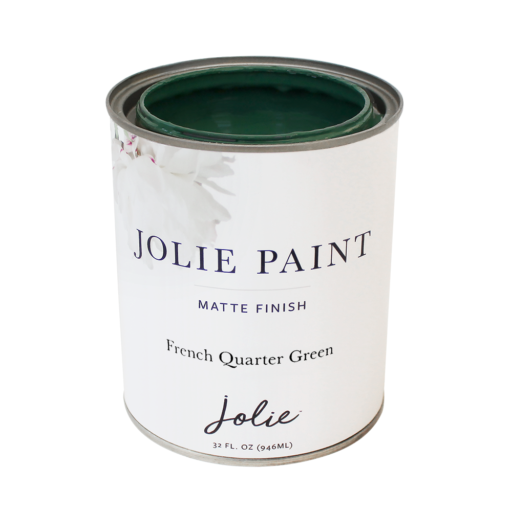Jolie Paint in FRENCH QUARTER GREEN dark green Chalk Paint French Quarter New Orleans sophisticated funky Farmhouse Inspired