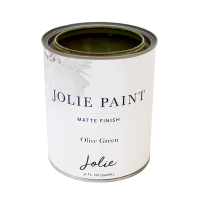 Jolie Paint OLIVE GREEN dark yellowish green Chalk Paint Farmhouse Mid-Century Modern Farmhouse Inspired