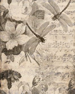 Musical Dragonfiles Sepia Dragonflies Floral Music Roycyled Treasures FarmhouseInspired.com