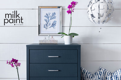 Milk Paint by Fusion Deep Dark Blue like a lake at night Painted Chest Farmhouse Inspired