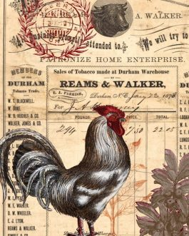 Roycycled Papers Country Rooster Vintage Ephemera Invoice Decoupage papers Farmhouse Inspired