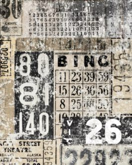 Recycled Papers Grunge Numbers Collage Bingo card ticket punch card numbers decoupage paper Farmhouse Inspired