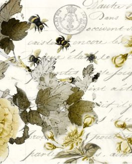 Sepia Blossom Script Bee Flora Roycycled Treasures Decoupage Paper FarmhouseInspired.jcom