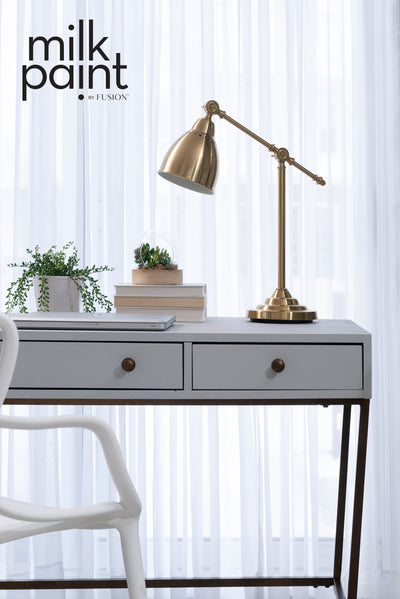 Milk Paint by Fusion Warm Grey Like a Hollywood Screen Painted Desk Farmhouse Inspired