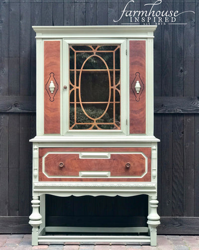 Antique display cabinet hutch farmhouse inspired