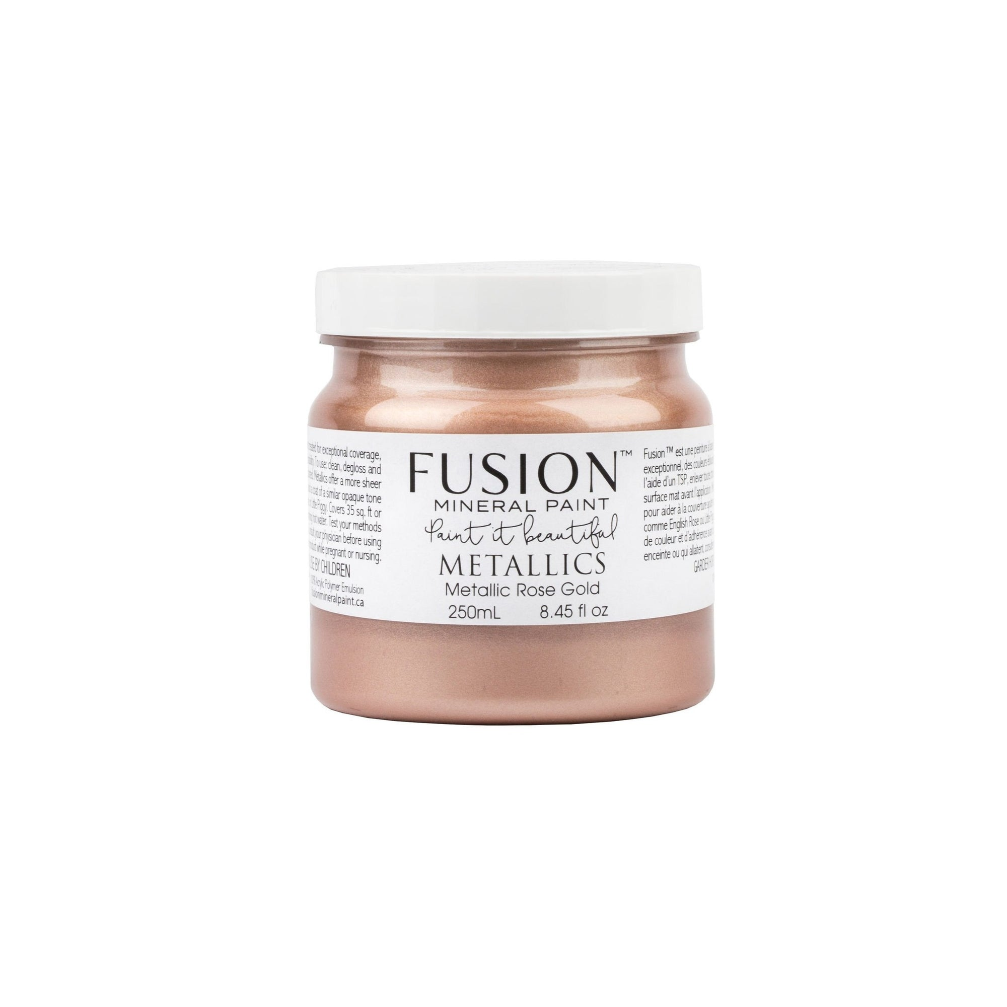 fusion mineral paint farmhouse inspired metallic rose gold