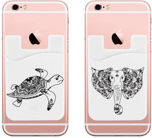 Phone Pocket (Two) Elephant and Turtle Cell Phone Stick on Wallet Card Holder for iPhone, Android and All Smartphones.